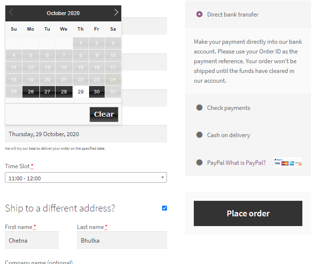 <p>The Delivery date field will be visible on checkout page, according to the settings</p>