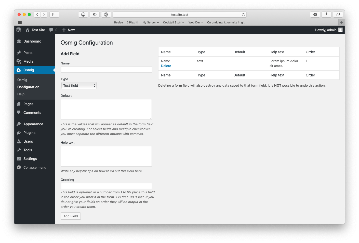 The configuration screen of Osmig Signup Plugin