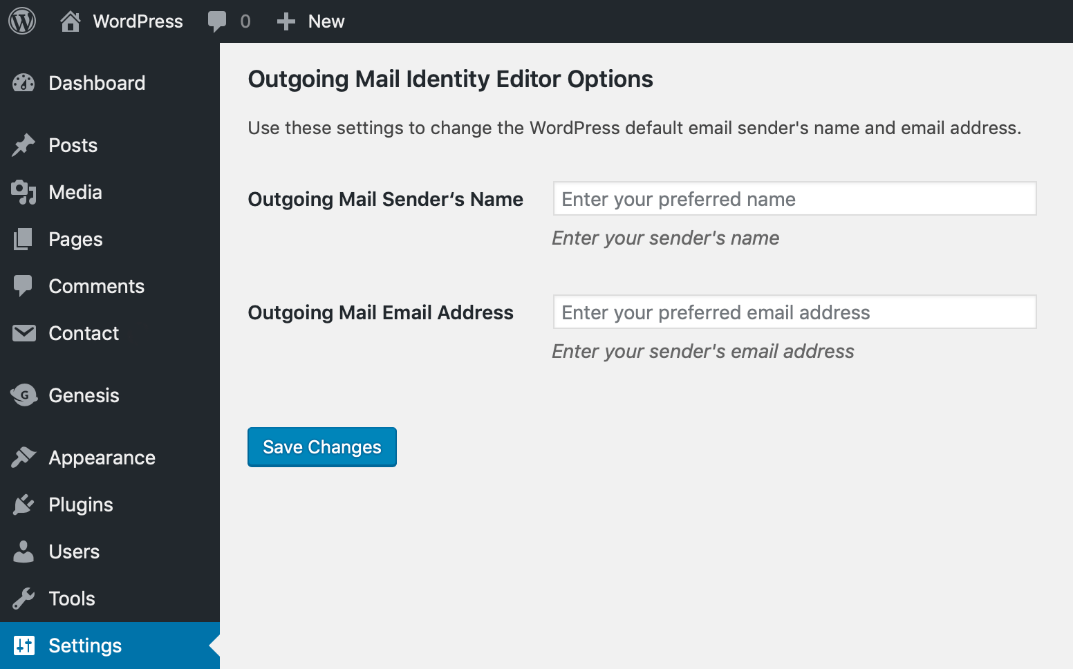 The settings screen in Outgoing Mail Identity Editor