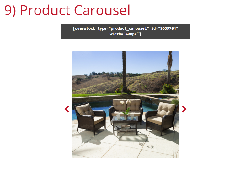 The 'Product Carousel' Shortcode