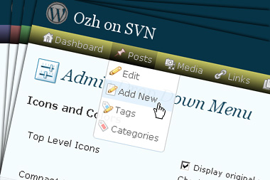 Drop down menu with WordPress top level icons and sub level icons, configurable color scheme