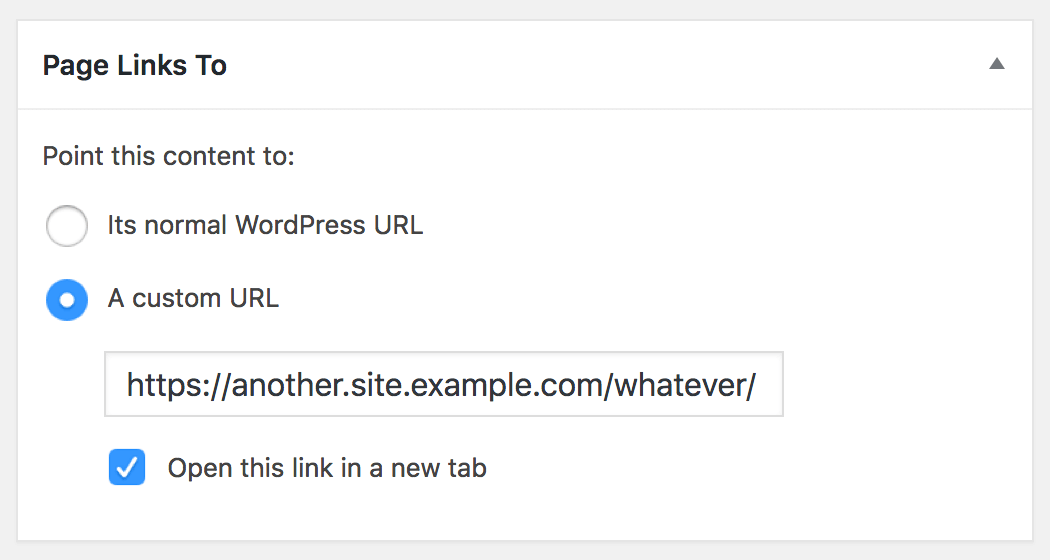 The Page Links To meta box in action