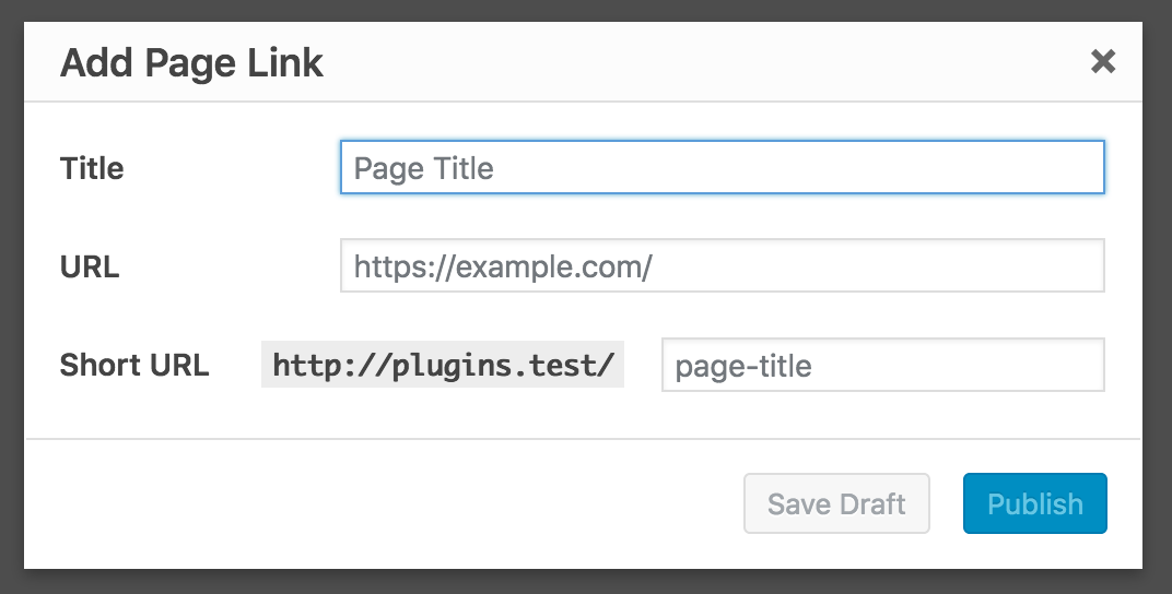 The quick Add Page Link dialog.