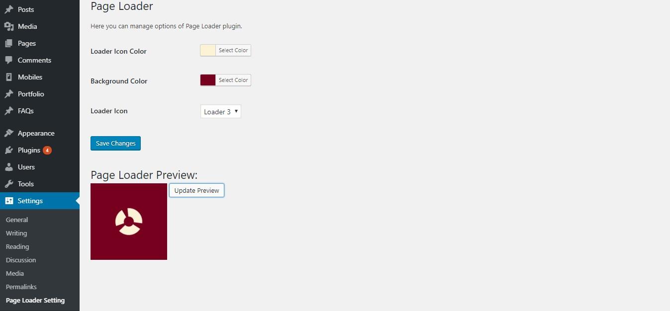 Plugin settings in Wordpress dashboard