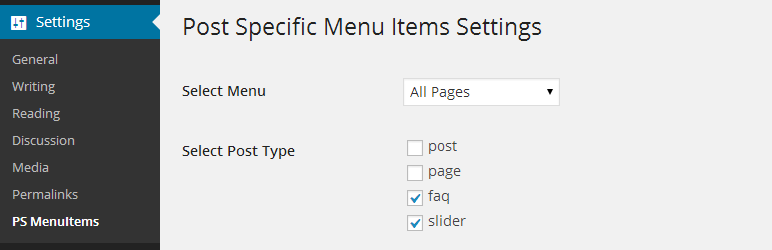 Page Specific Menu Items: plugin settings