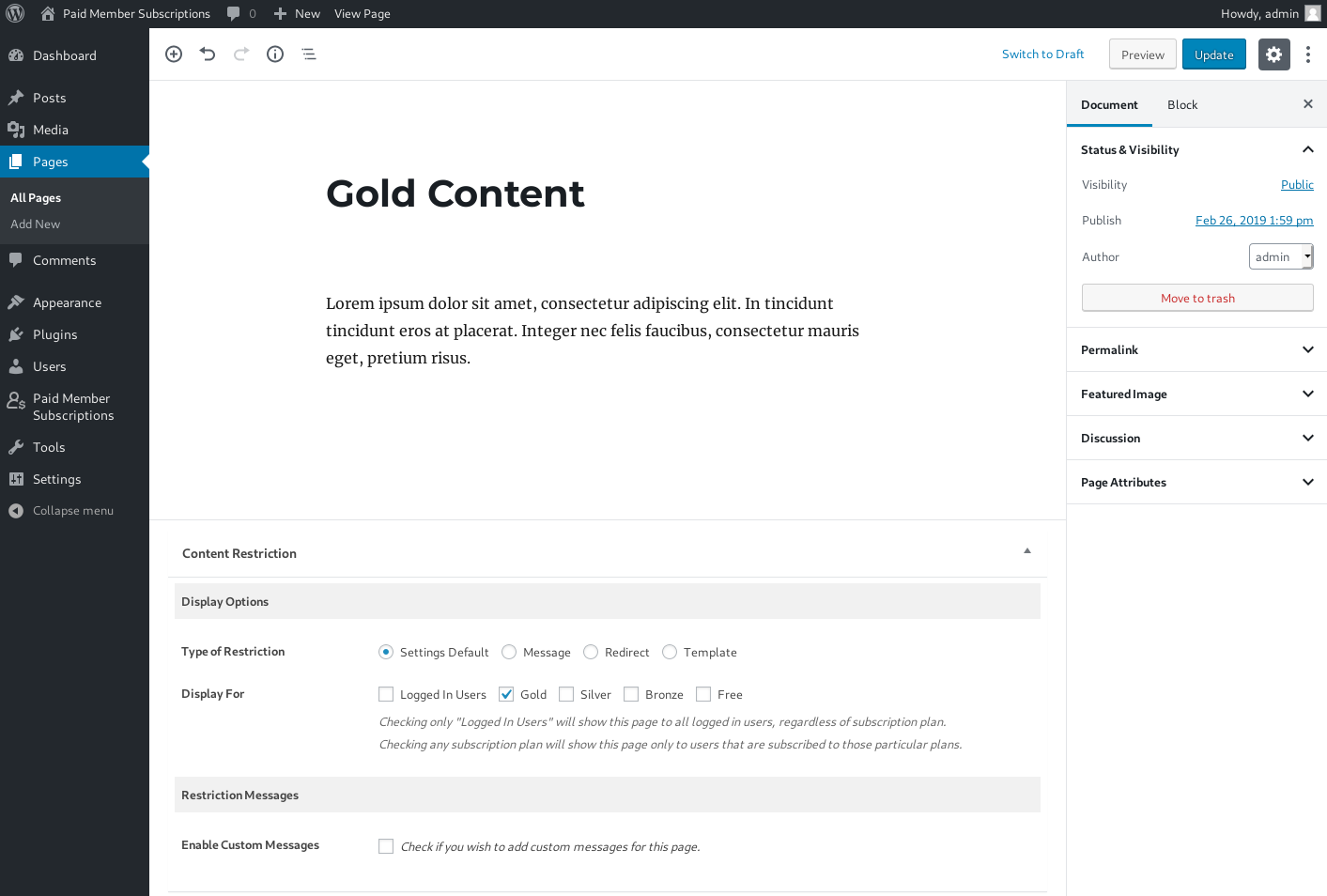 Restrict Content - posts, pages, custom post types (Gutenberg)