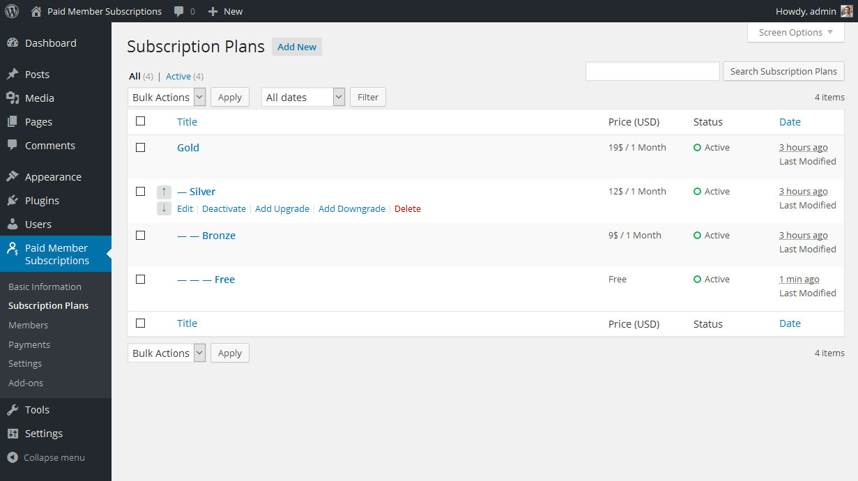 Subscription Plans listing from Paid Member Subscriptions - membership plugin