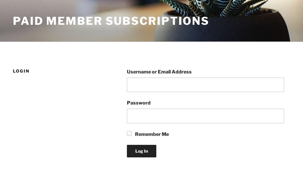 Member Login Page - Front-end user login form