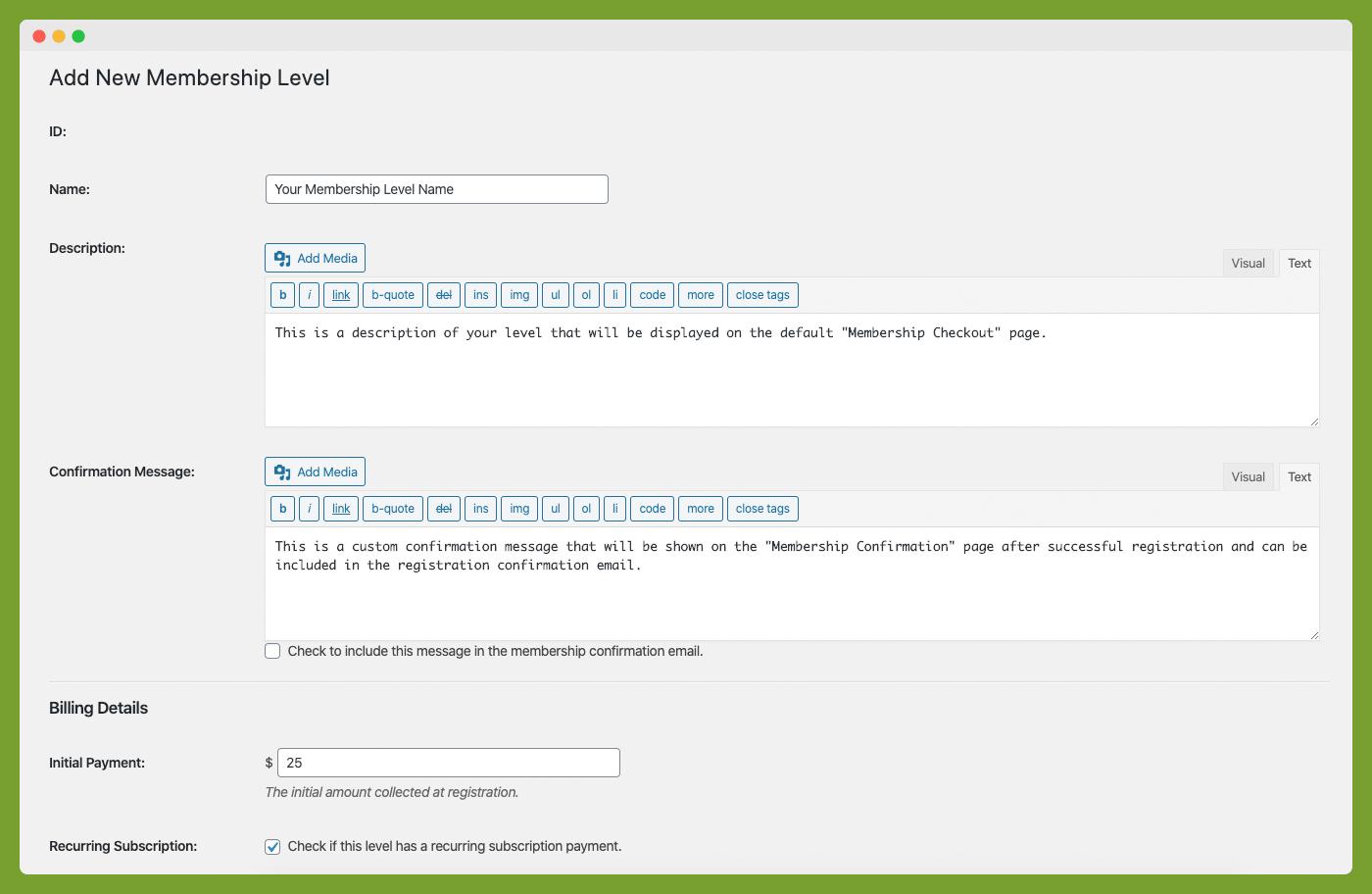 Paid Memberships Pro membership level configuration menu