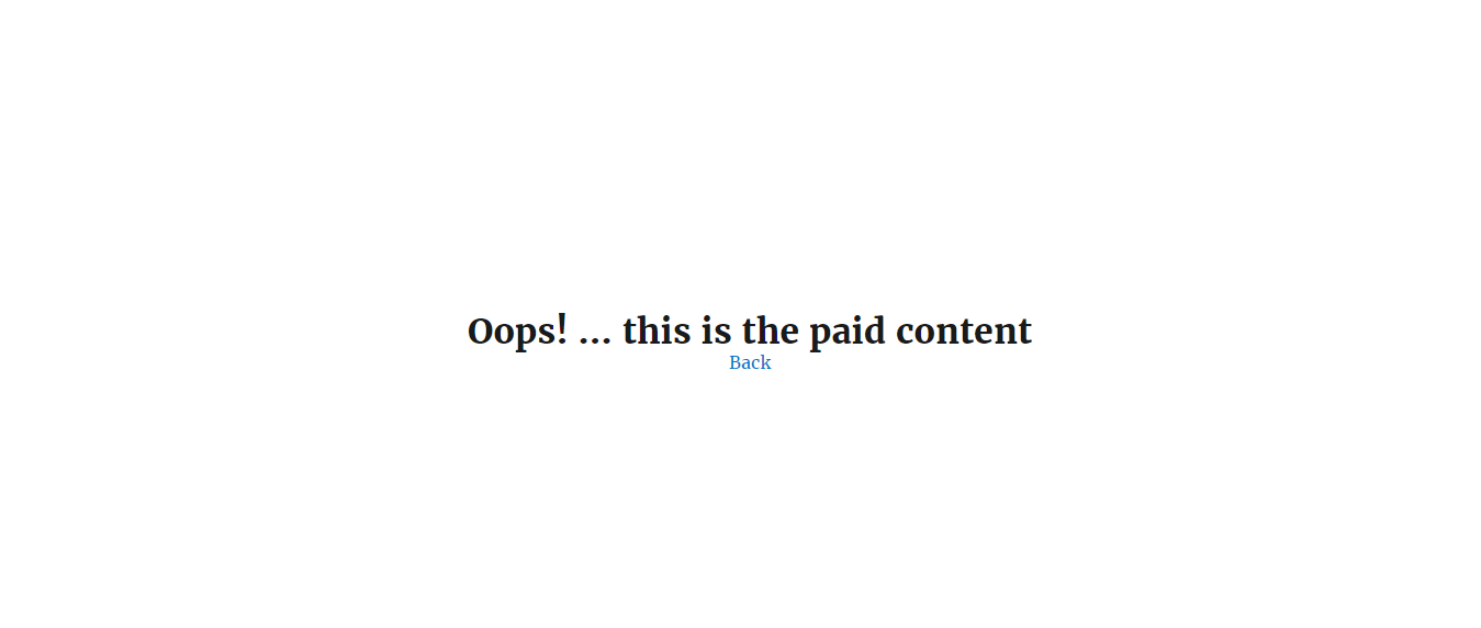 If content was not purchased user will see this window.