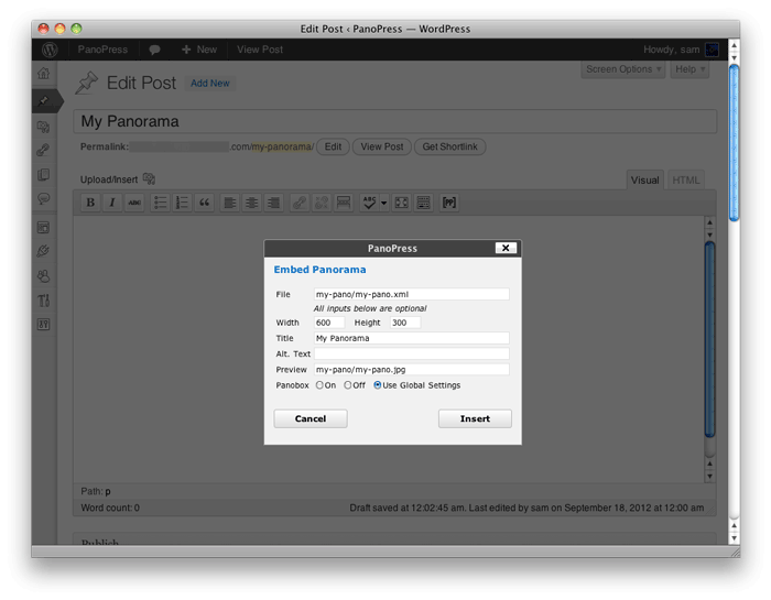 <strong>Shortcode Button</strong> - use the [PP] PanoPress button in the WordPress editor to embed your Panoramas