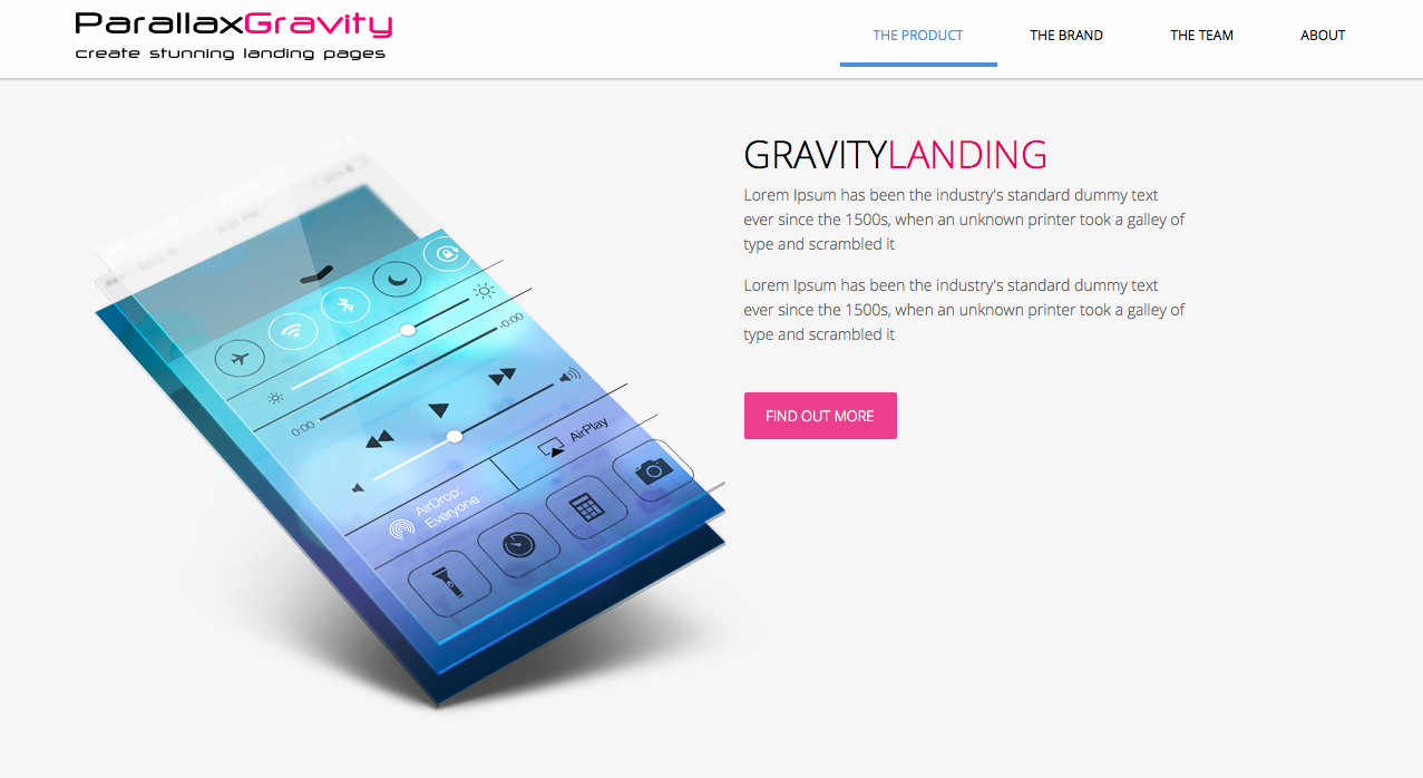 parallax-gravity-landing-page-builder screenshot 1