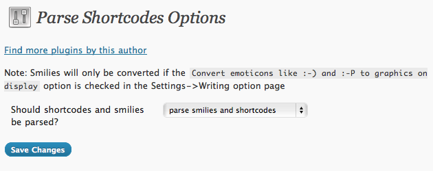 This is the options screen showing the settings available with Allow Shortcodes in Text Widgets.