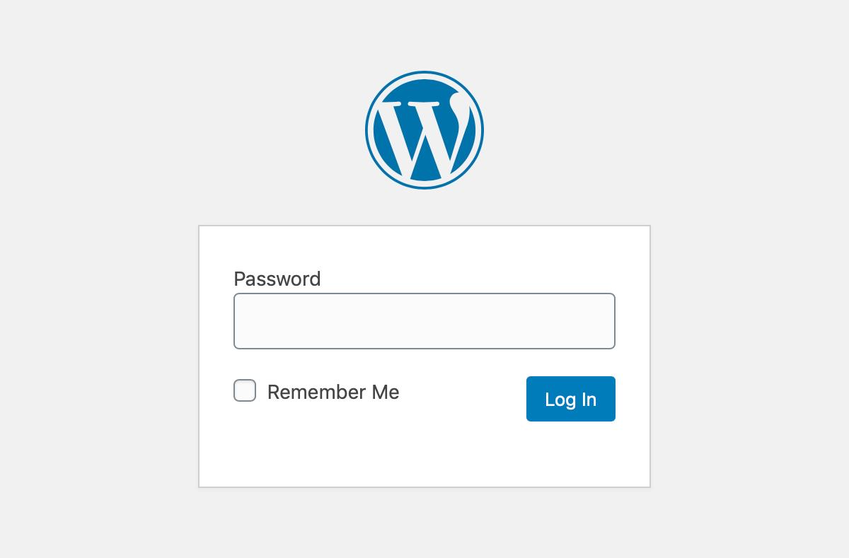 password protected wordpress org