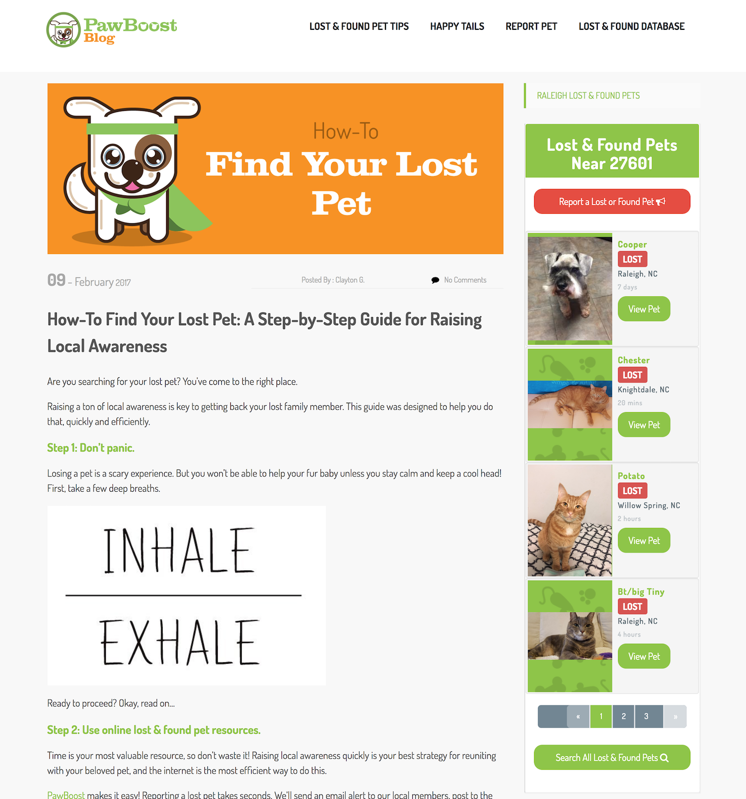 Pictured, the PawBoost Lost and Found Pets widget installed and added to the right sidebar