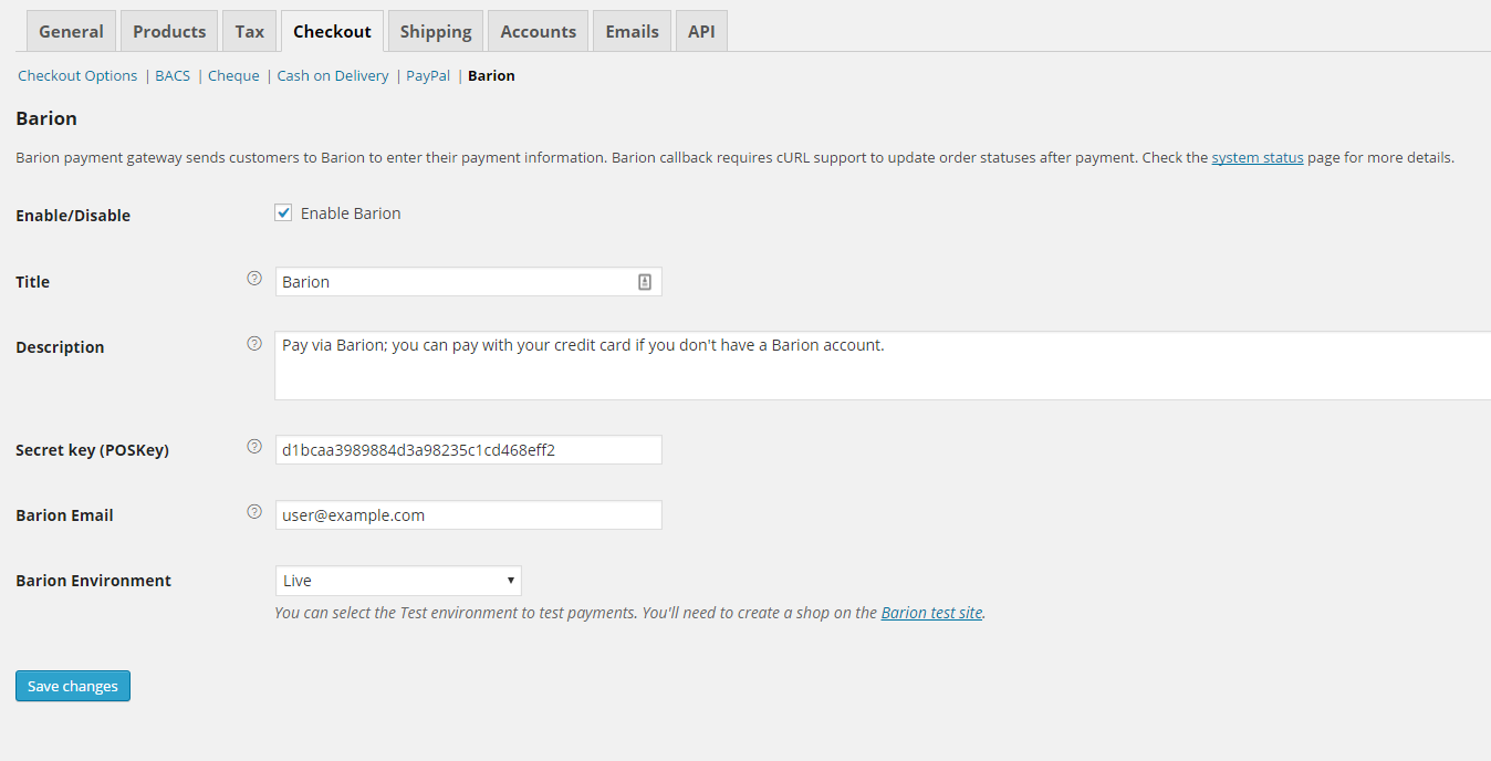 Settings on the WooCommerce Settings > Checkout page