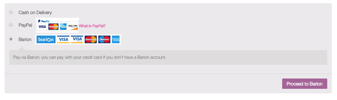 Barion as a payment method