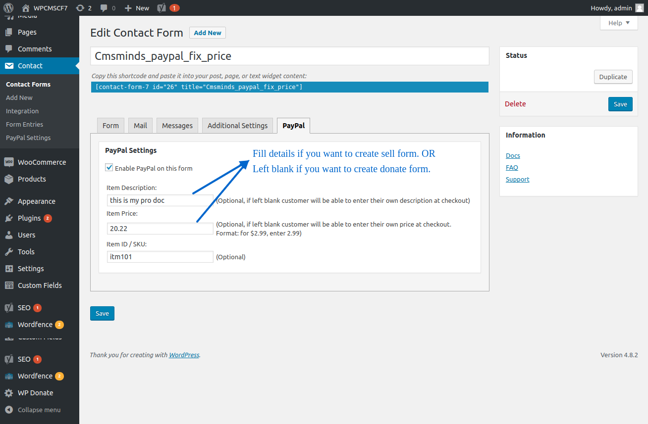 Enable Paypal for perticular Form and Set price, description and SKU.