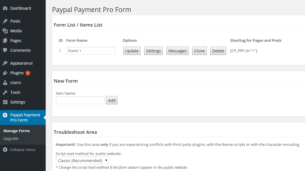 PayPal Pro Forms List