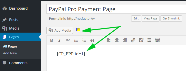Inserting a PayPal Pro form into a page