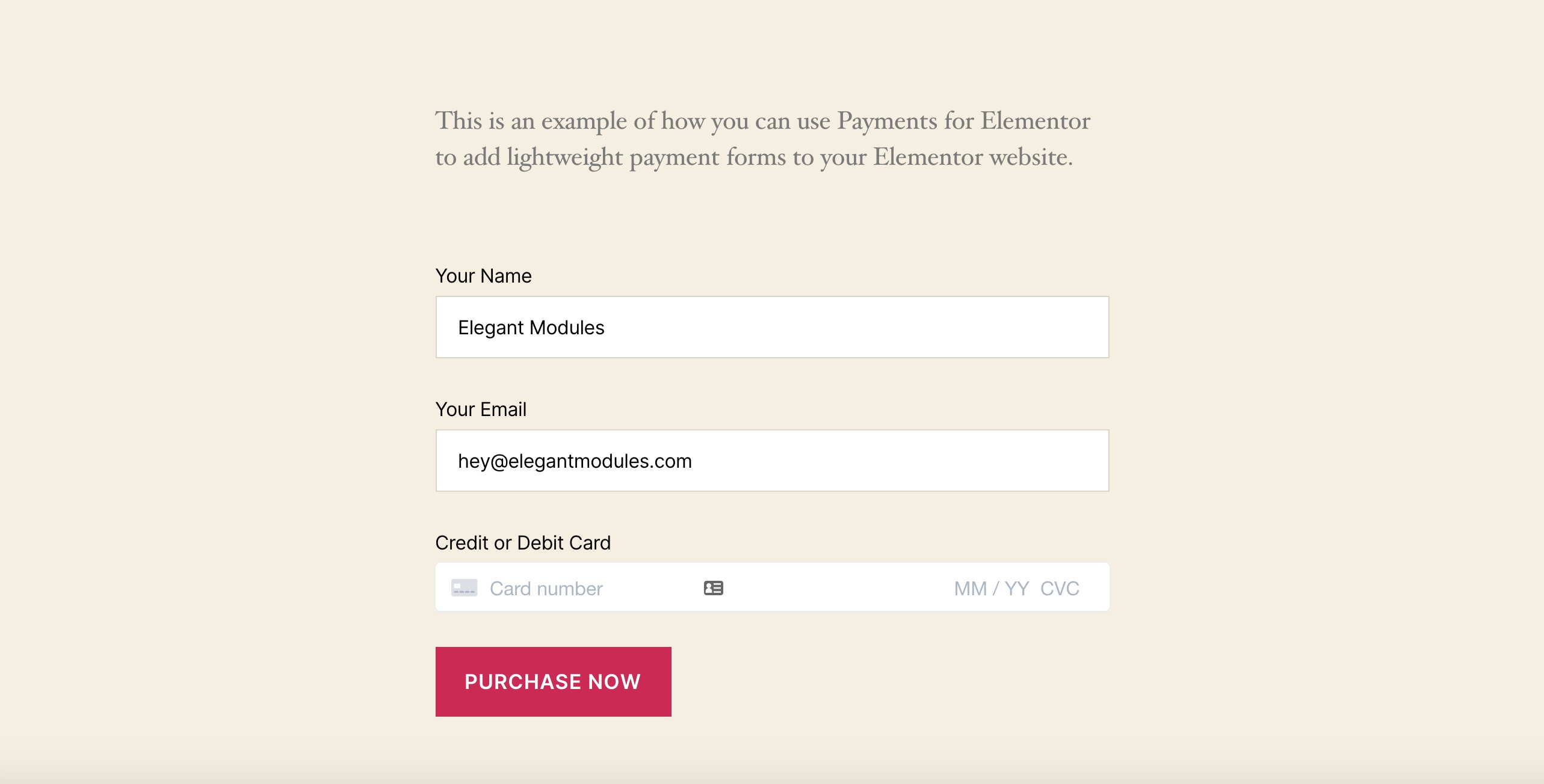 Payments for Elementor