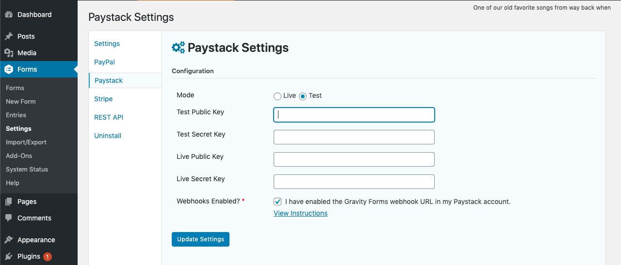 Paystack Add-On for Gravity Forms