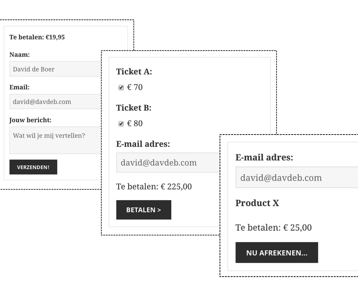 <strong>Payment buttons are flexible</strong> - Set a static amount to be paid, ask for donations (custom amounts!) or allow visitors to select an amount for a specific product/service via a dropdown.