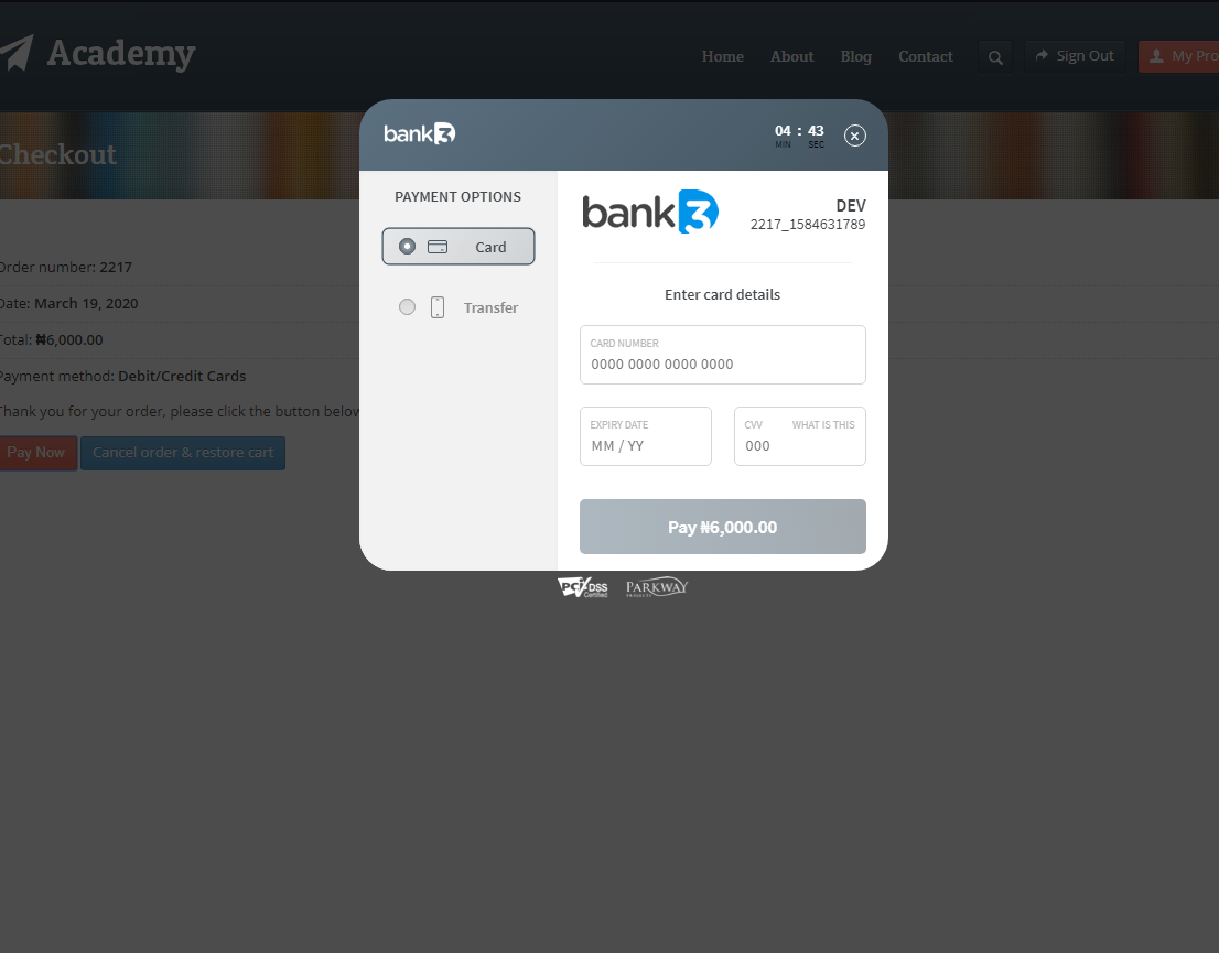 <p>PayWithBank3D inline payment page</p>