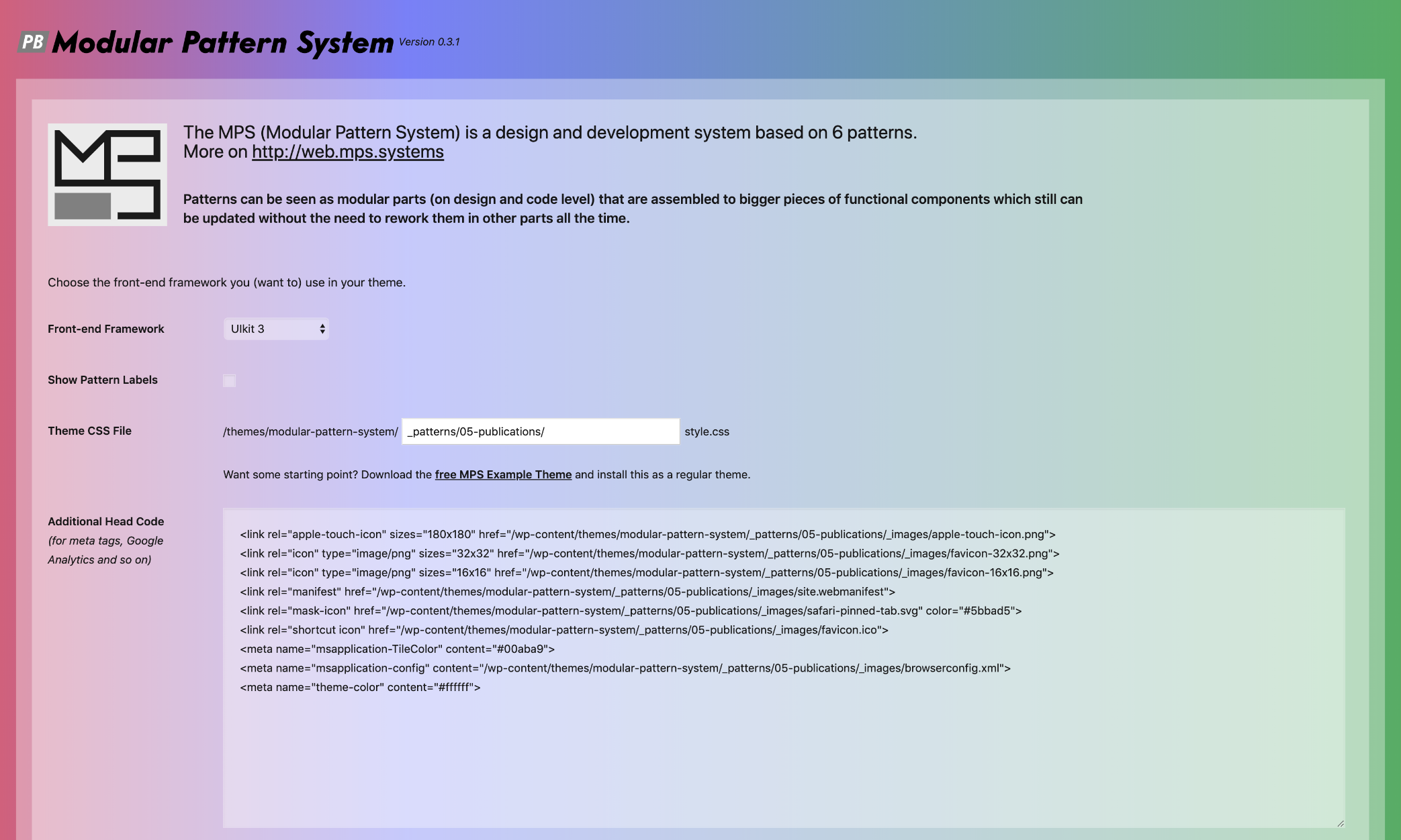 View of the plugin admin settings