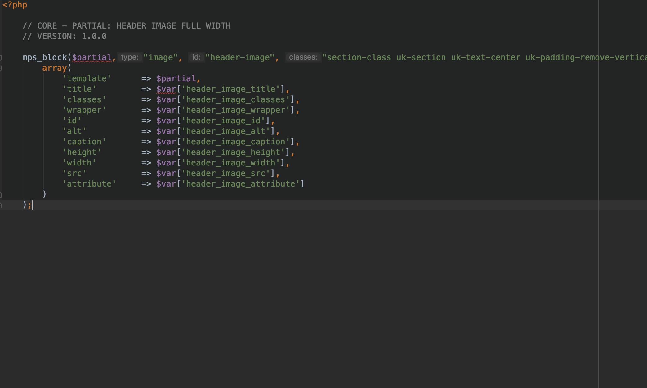 Code view (in PhpStorm) of core code (Header Image for UIkit 3)