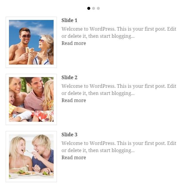 Example: 3 thumbnails in column aligned left.