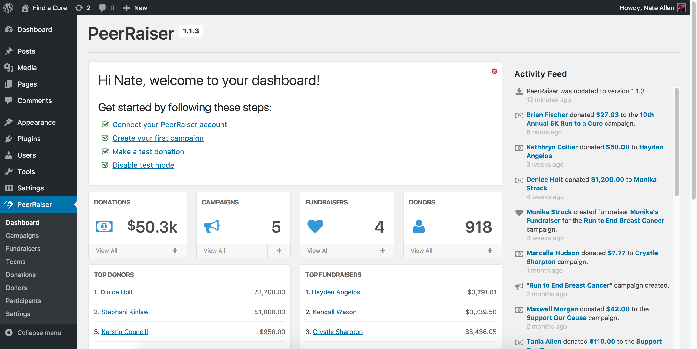 Your dashboard, where you can track the progress of your campaigns