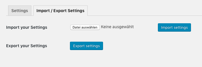 Import / Export functionality