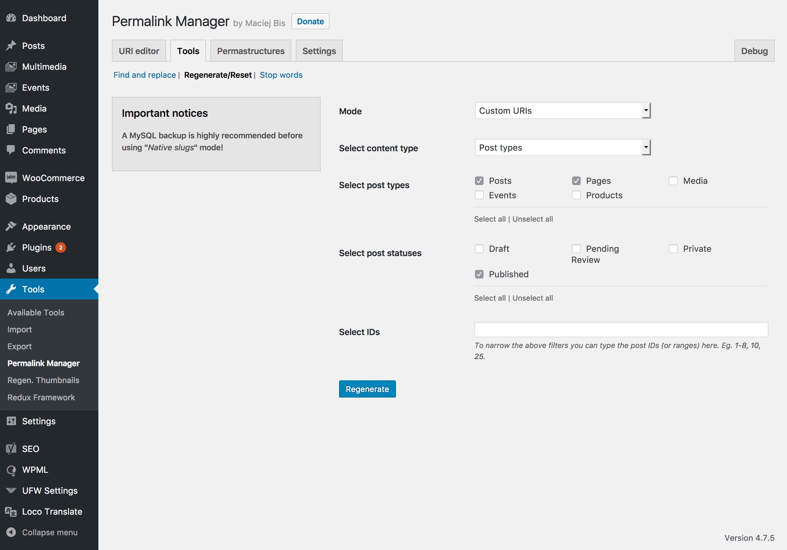 """""""Regenerate/Reset"""" tool."""