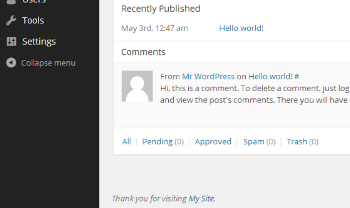 The new admin footer text