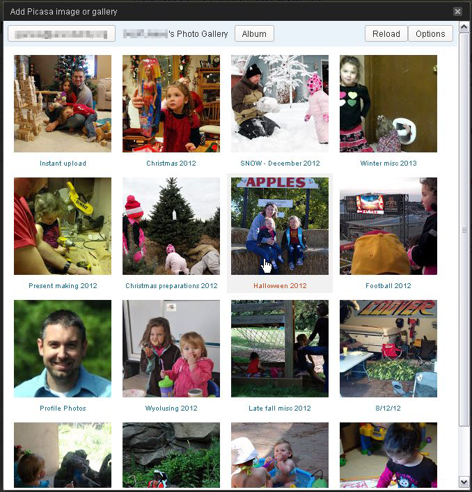 Album selection dialog - either open an album to view/select individual photos, or switch to shortcode mode and insert a whole album shortcode for a gallery of photos from an entire album.