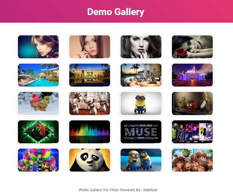 Album gallery with header & footer design layout