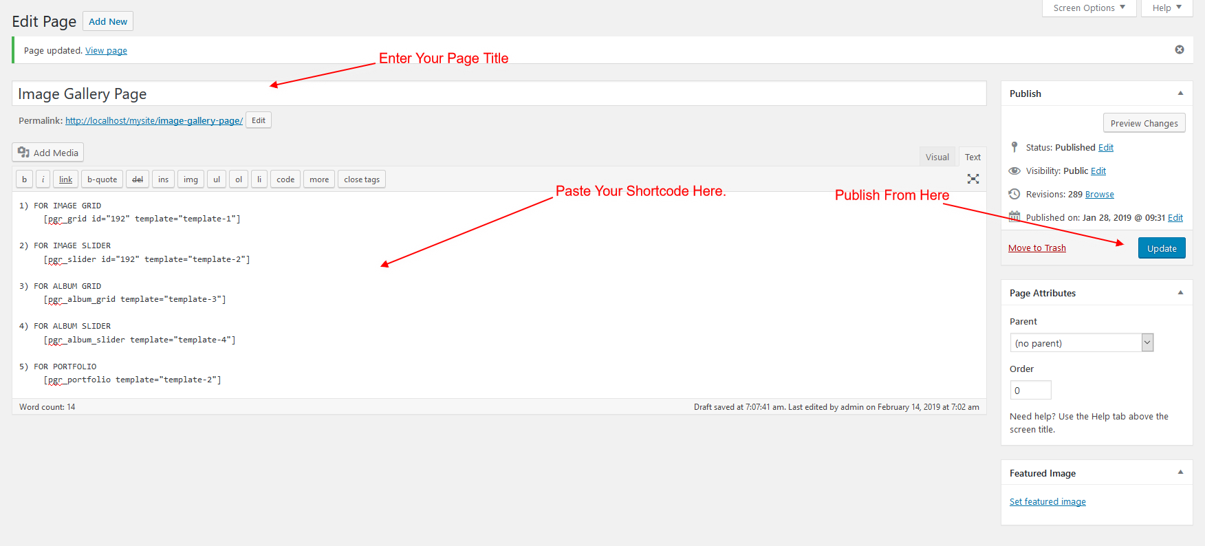 How to Add Shortcode in Page & post text editer.