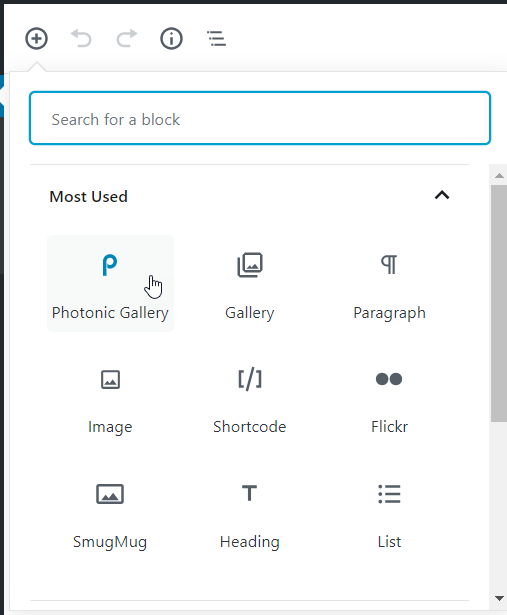 """If you are using Gutenberg look for the """"Photonic"""" block"""