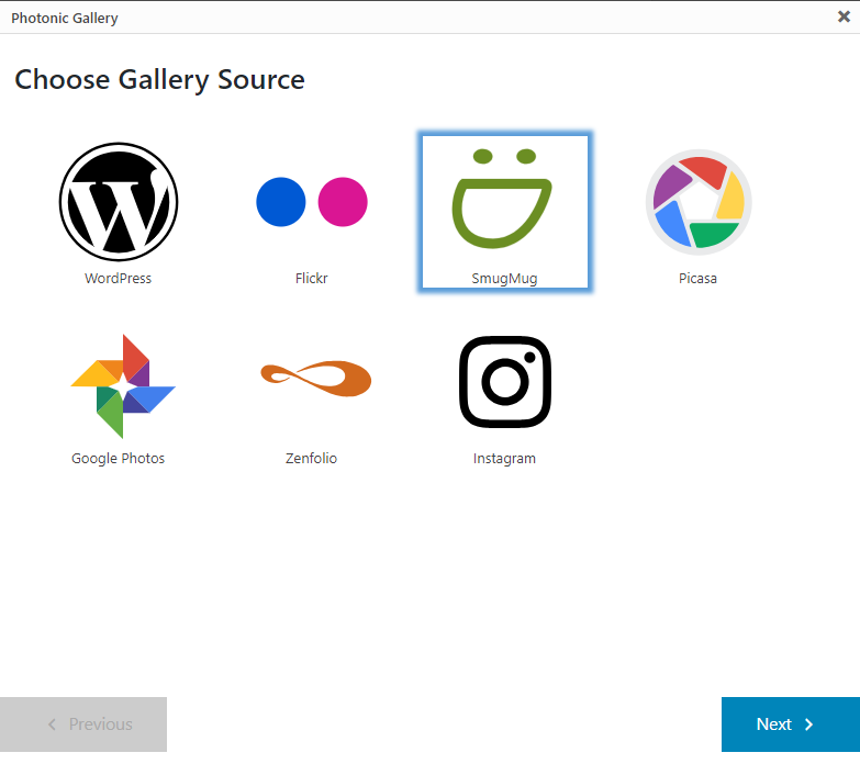 """Clicking on the Gutenberg block, or on """"Add / Edit Photonic Gallery"""" shows up an interactive flow for you to build out your gallery."""