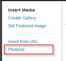 """If you click on """"Add Media"""" you will see a new tab for """"Photonic"""". This is not available for Gutenberg."""