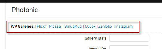 """Clicking on the """"Photonic"""" tab will show you new tabs, one for each type of gallery. Fill out what you need and click """"Insert into post""""."""