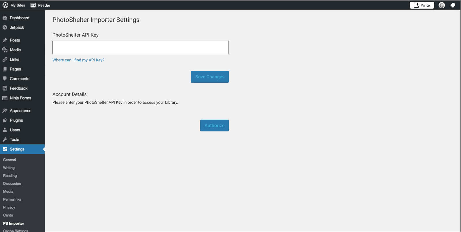 Enter your API key under Settings > PS Importer.