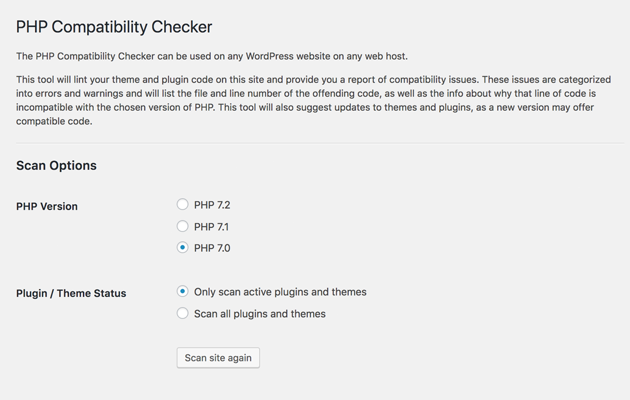 PHP Compatibility Checker – WordPress plugin | WordPress org