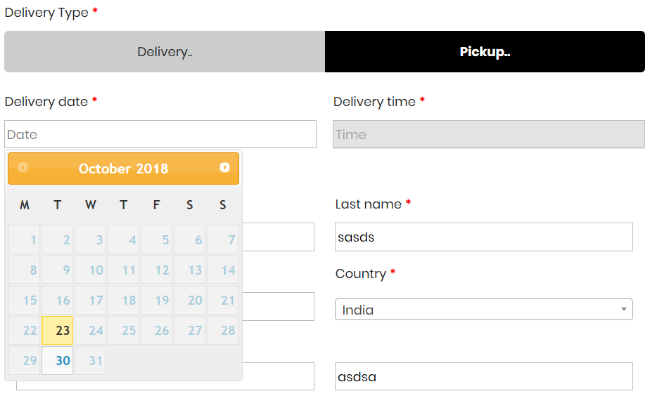 Order date, Order pickup, Order date time, Pickup Location, delivery date  for WooCommerce