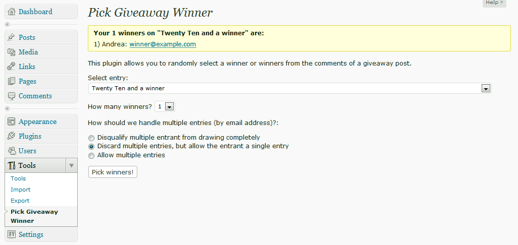 This is how the winner selection screen looks right after you've chosen a winner or winners.