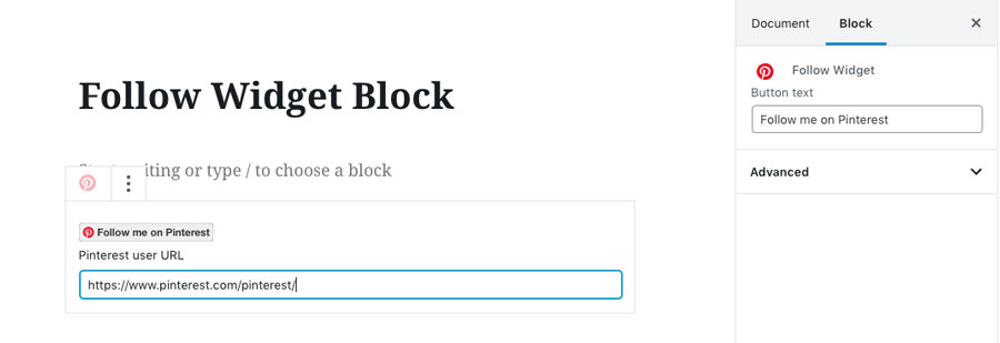 Follow Widget Block — helps you in calling your visitors to become your Pinterest followers.
