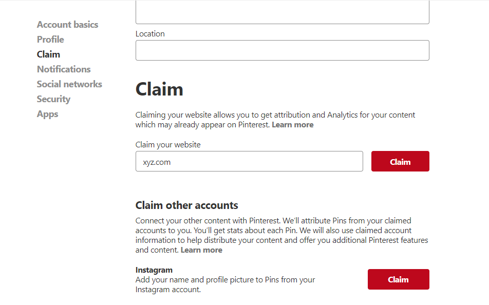 Enter your web address in the Claim section then click Verify Website.