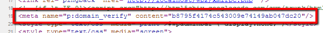 Sample HTML source meta tag output on public front page.