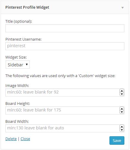 Profile widget settings